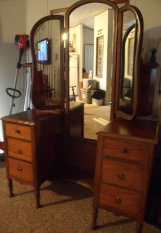 Antique Vanity / Dressing Table With Triple Mirrors Incredible Gift photo