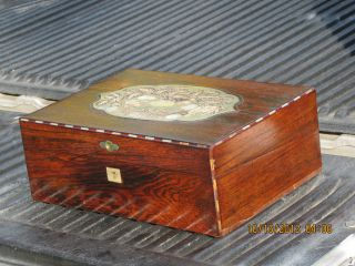 Rosewood & Mother Of Pearl Lap Desk W Provenance - Fam History Ink Bottle photo