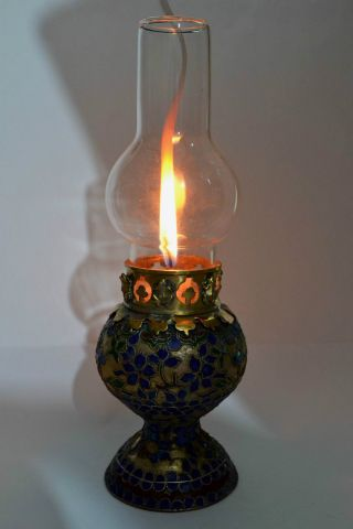 China Collectibles Old Decorated Wonderful Handwork Cloisonne Flower Oil Lamp ++ photo