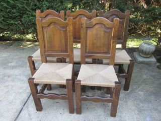 5 Vintage French Country Chairs,  Solid Walnut,  Straw Seat,  Rustic Looking. photo