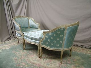 18c Antique Duchesse Brisee French Louis Xv 3 Part Chaise Bergere Polychromed photo