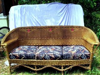 Vintage Antique Wicker Furniture Couch Inherited,  3 Cushions Recovered photo