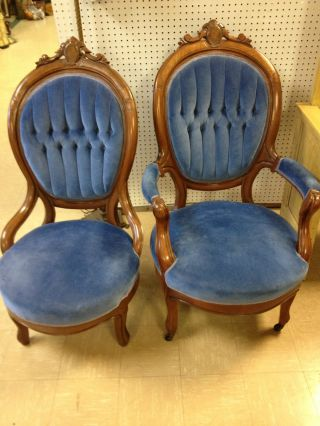 Pair Of 2 Blue Vintage Carved Victorian Chairs Stunning photo