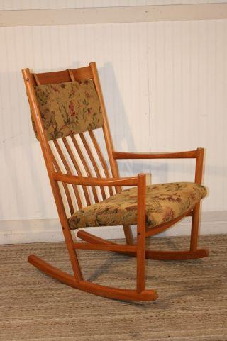 Vtg Mid Century Danish Modern Hans Wegner Tarm Stole Teak Rocker Rocking Chair photo