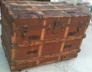 Antique Trunk,  Steamer Trunk,  Over 100 Years Old Good Condition. photo