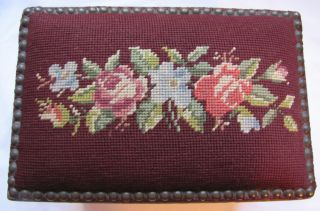 Antique Needlepoint Footstool Burgundy With Flowers On Wood With Metal Legs photo