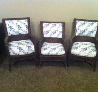 1940s Wicker Set 2 Chairs And 1 Rocker Very Tight Weave Very Solid Excellent Con photo