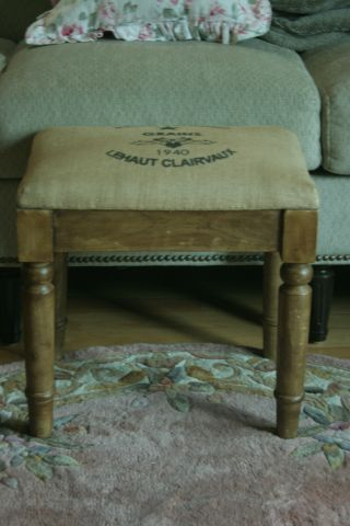 New Vintage Inspired Wood Stool Bench Vanity Burlap Seat & French Script Charm photo
