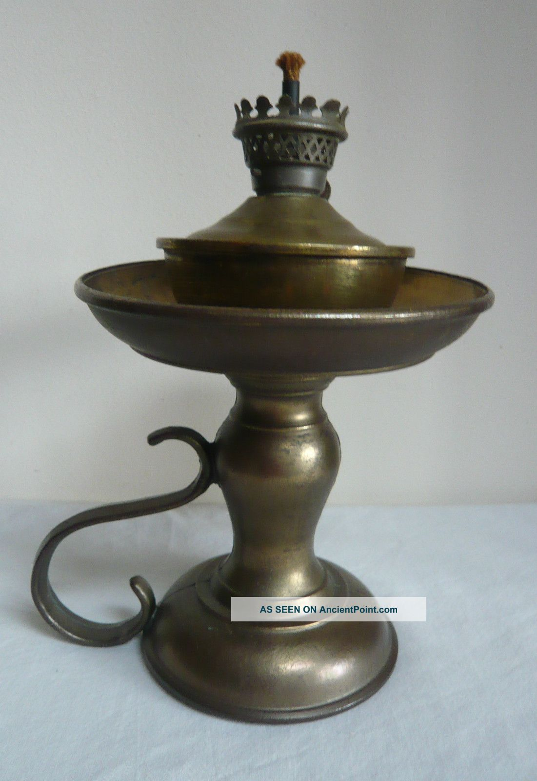 Old Antique Brass Oil Lamp Burner With Holder.  Seamed.  2 Parts.  With Handle. 20th Century photo