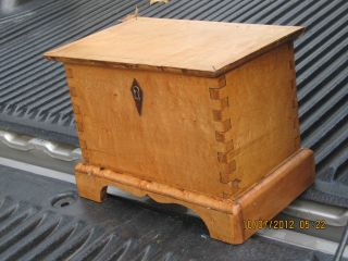 Birdseye Maple Salesman Sample Dovetailed Tall Trunk Circa 1850 photo