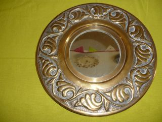 Vintage Arts & Crafts Style 20s 30s Embossed Round Brass Framed Mirror 10