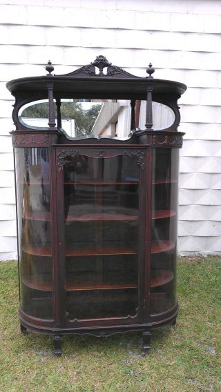 Antique Early 1900 ' S Mahogany Bow Front China Cabinet Mirror Display Case Curio photo