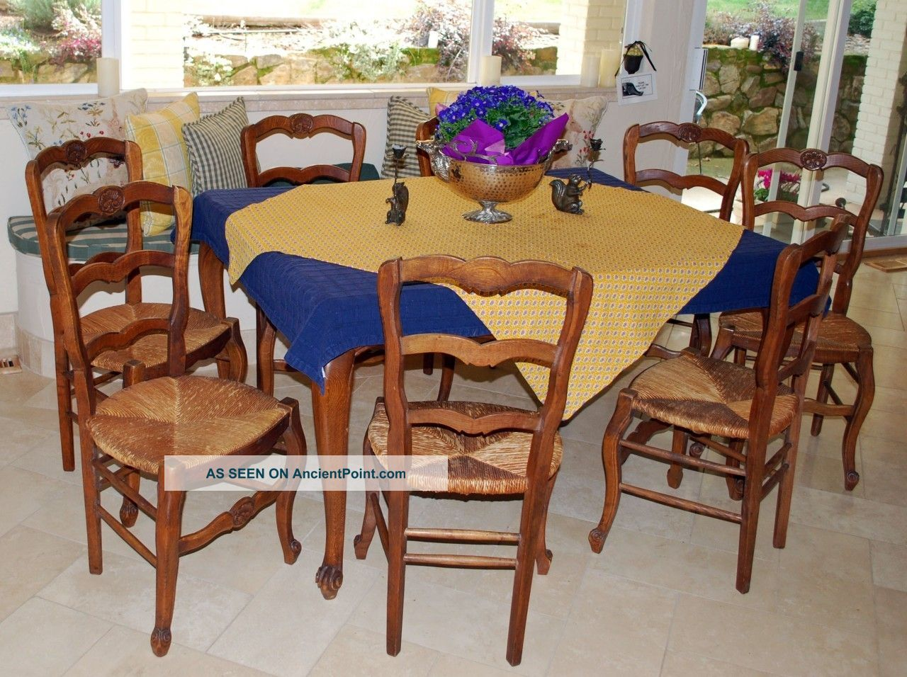 8 Antique French Country Chairs France Kitchen Dining Rush