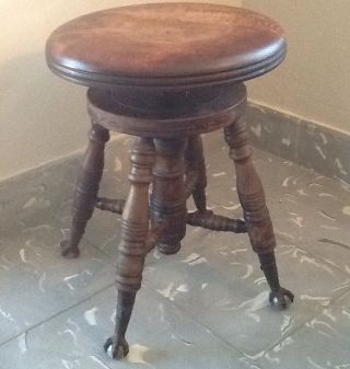 Antique Victorian Piano Stool Adjustable Bench Glass Claw Ball Feet photo