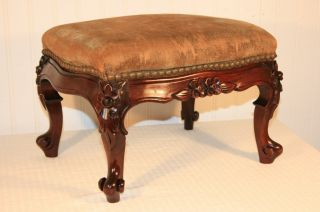 Antique Petite Victorian Floral Deeply Carved Mahogany Footstool French Ottoman photo