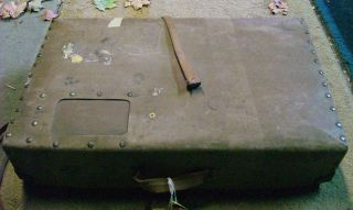 Antique Vintage Old Buggy Car Chest Luggage Carrier Auto Suitcase Linen Box photo