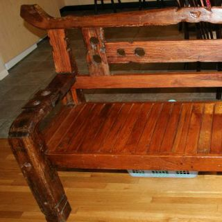 Antique Solid Wood Bench 400 Years Old photo