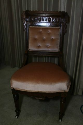 Antique Walnut Dinette Or Parlor Chair photo