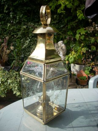 Attractive Vintage Hanging Brass & Etched Glass Oil Lamp photo