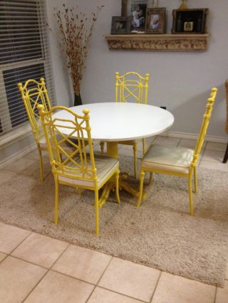 Rare Vintage Faux Bamboo Aluminum Table & Chairs photo