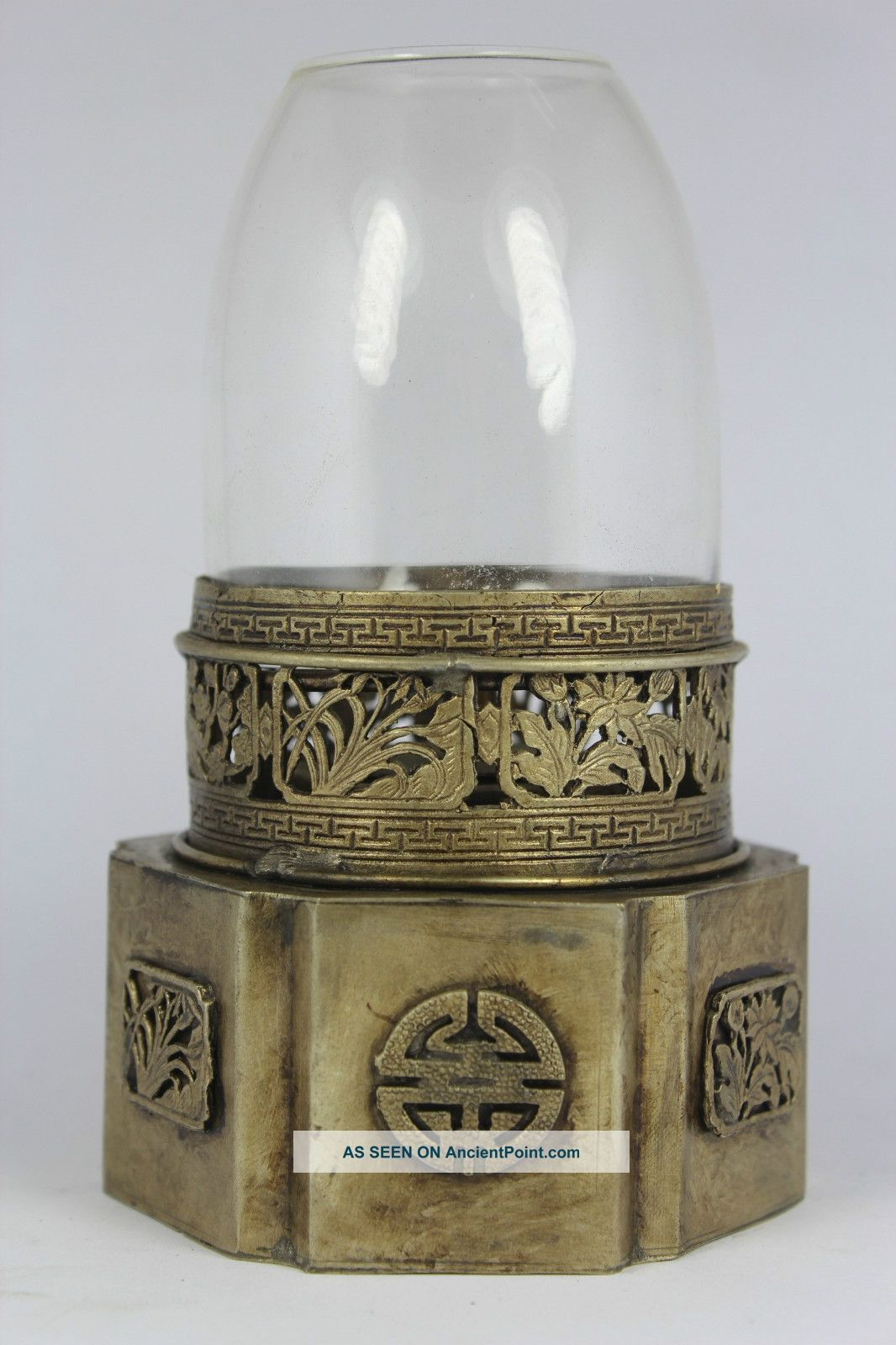 Chinese old white copper handwork flower oil lamp mightylinksfo