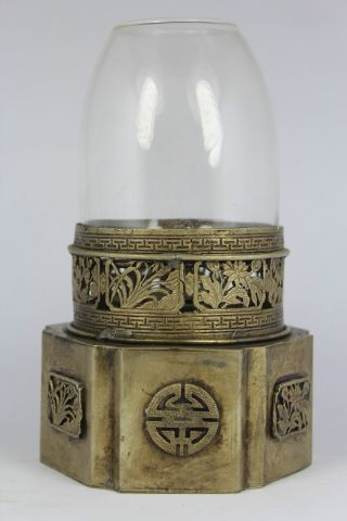Chinese Old White Copper Handwork Flower Oil Lamp photo