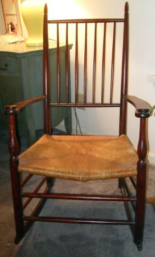 Antique Rocking Chair,  Rush Seat,  Dark Stained Wood,  Simple Design photo