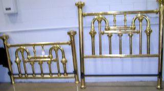 1849 American Tuba Style Brass Bed Fully Polished photo
