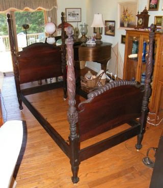 Antique C1900 - 1940 Chippendale Solid Mahogany 4 - Poster Twin Single Bed Carved photo