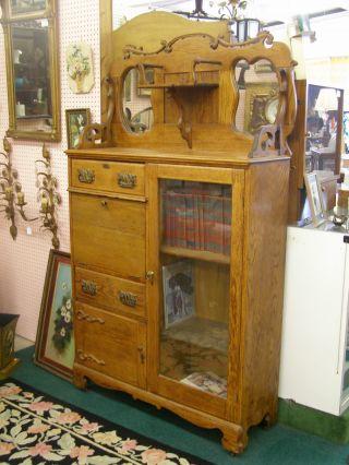 Early 20th Arts Crafts Quartersawn Oak Side By Side Cabinet Desk Bookcase Mirror photo