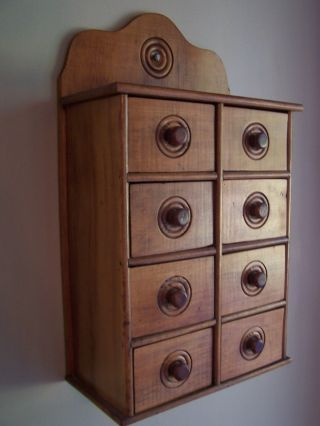 Antique Wood Spice Chest Hanging French Country Wall Cabinetsewing Jewelry photo
