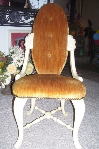 1940 ' S Vintage French White/ivory Bedroom Chair,  Vanity,  Decorative - Golden Amber photo
