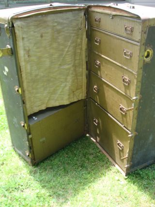 Antique 1800 ' S R.  H.  Macy & Company Wardrobe Traveling Trunk - Not Restored photo