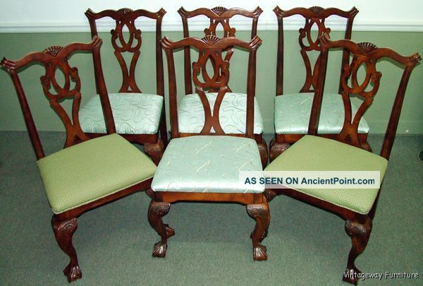 5996: Chippendale Set Of 6 Claw & Ball Feet Dining Room Chairs Post-1950 photo