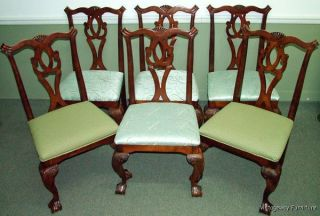 5996: Chippendale Set Of 6 Claw & Ball Feet Dining Room Chairs photo