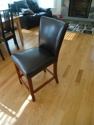 5 Black Leather Bar Stools. photo