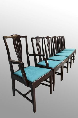 15951 Antique Set Of Six Mahogany Formal Dining Chairs photo