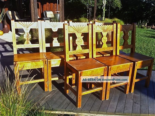 Set Of 8 Wpa Southwestern Style Wooden Chairs Circa 1940 Post-1950 photo