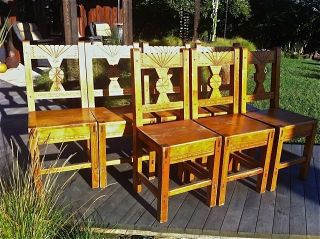 Set Of 8 Wpa Southwestern Style Wooden Chairs Circa 1940 photo