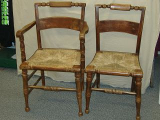 Antique Pair Of Primitive Hitchcock Chairs W/rush Seats - - One