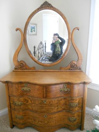 Antique Dresser Bureau Art Nouveau photo