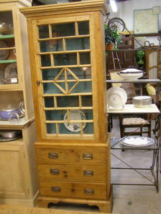 Antique Pine Cupboard Old Glass Paned Window Door Painted Interior Top Cabinet photo