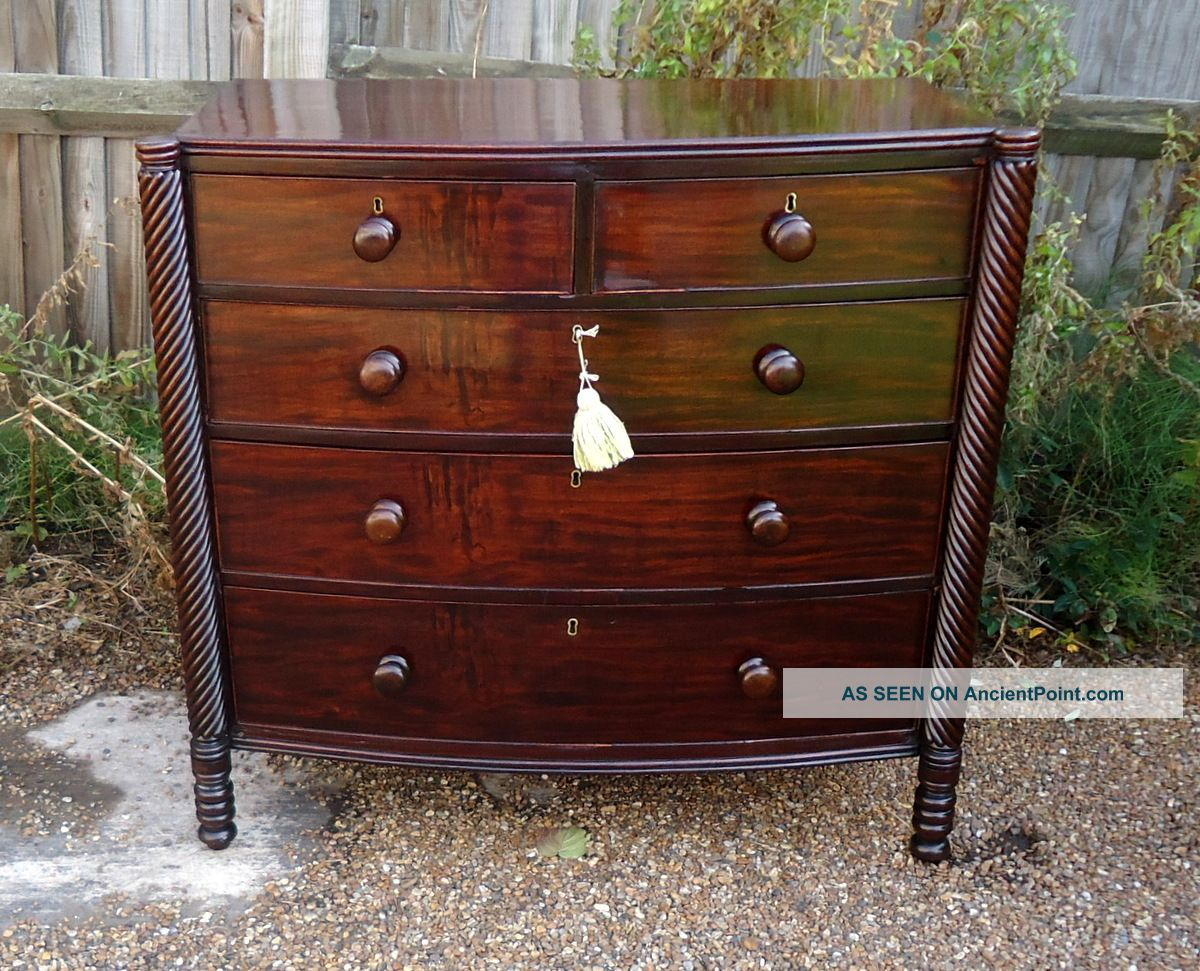 Regency.  Bow Front Chest Of Drawers With Rope Twisted Columns C1820 - 1830 Pre-Victorian (Pre-1837) photo