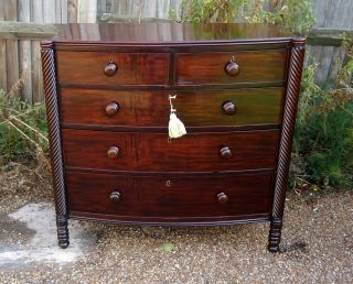 Regency.  Bow Front Chest Of Drawers With Rope Twisted Columns C1820 - 1830 photo