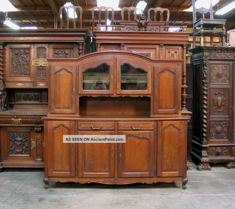 882701 : Oak French Country Vasselier Cabinet 1900-1950 photo