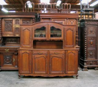 882701 : Oak French Country Vasselier Cabinet photo