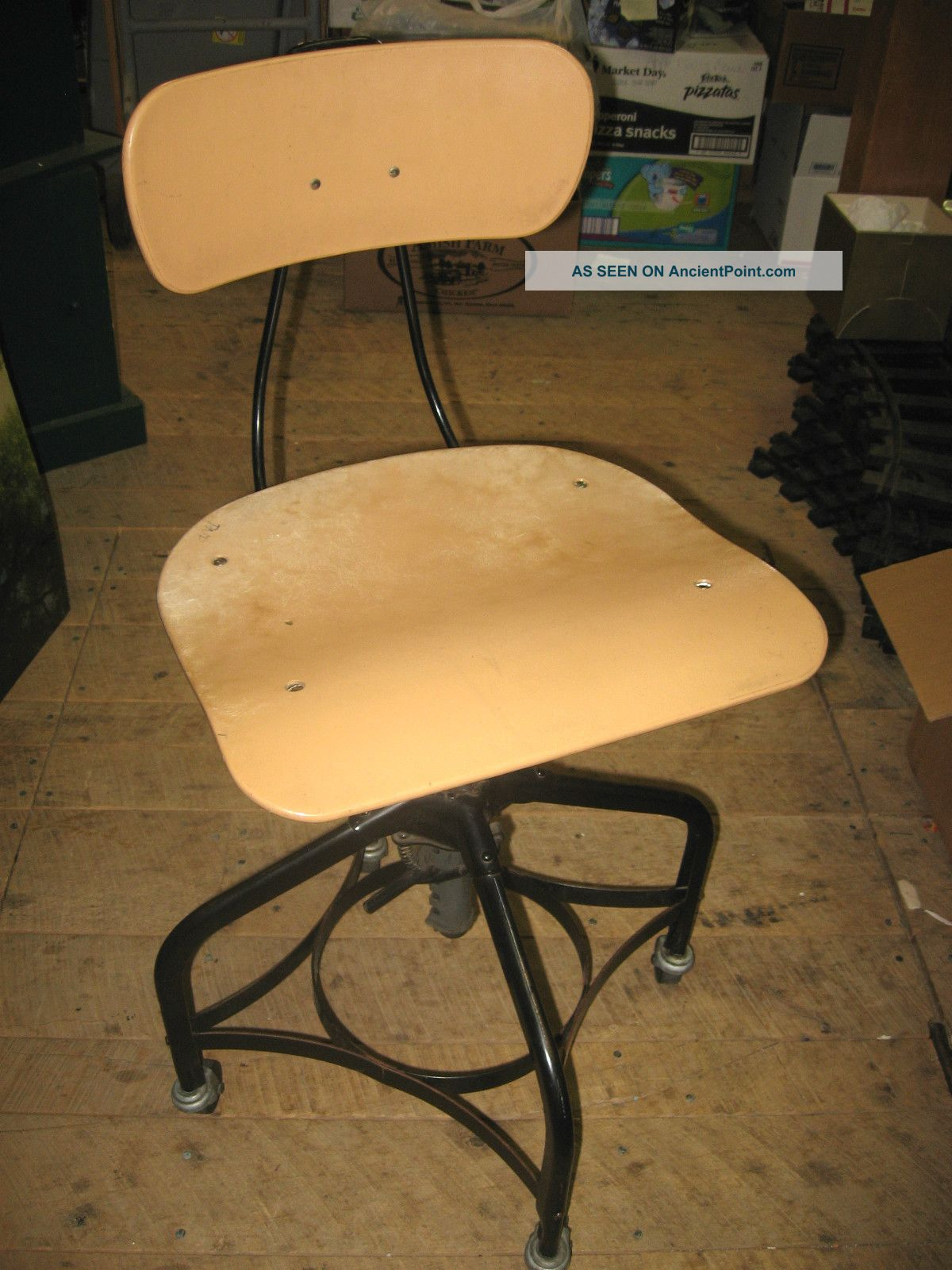 Toledo Draftsman Chair Adjustable Seat & Back Casters Industrial Steampunk Post-1950 photo