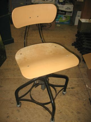 Toledo Draftsman Chair Adjustable Seat & Back Casters Industrial Steampunk photo