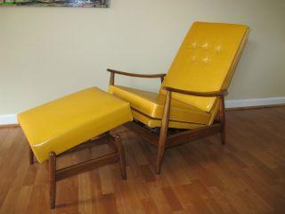 Vintage Mid Century Milo Baughman Recliner Lounge Chair Ottoman Eames Mad Men photo