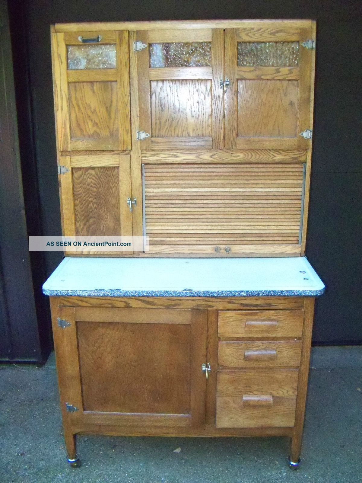 Oak Kitchen Maid Hoosier Style Cabinet Slag Glass Windows Restored